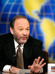 Joe Klein of Time Magazine gestures as he speaks on NBC's 'Meet the Press' during a taping at the NBC studios March 6, 2005 in Washington, DC.