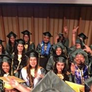Jeison Reyes pauses for a selfie with this L.A. Leadership Academy high school graduating class of 2016 just before they graduate.