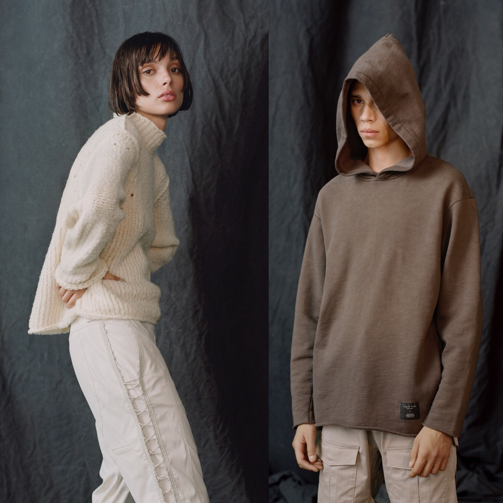 Part of the Rag & Bone Star Wars collection. On the right Hope Sweater in Moon & Echo Pant in Hoth, on left Obi-Wan Hoodie in Tatooine.