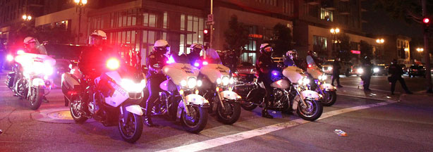 File photo: Police patrol outside Staples Center after Los Angeles Lakers defeated the Boston Celtics 83-79 to win the 2010 Wins NBA Championship on June 17, 2010 in Los Angeles, California.