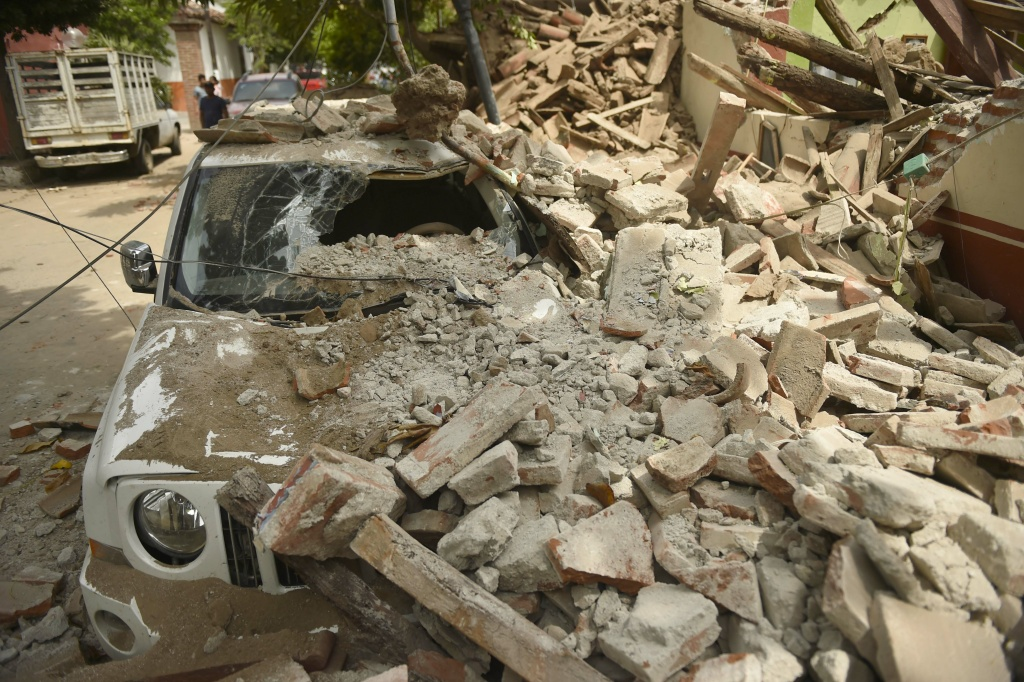 Several buildings collapsed in Juchitan de Zaragoza, Oaxaca, after an 8.1 earthquake that hit Mexico's Pacific coast on September 7, 2017.