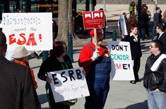 Video game supporters protest outside the U.S. Supreme Court in Washington, D.C.