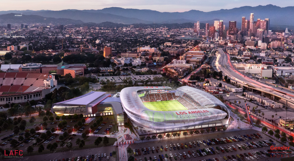An artist's rendering shows a soccer stadium that would be part of a 15-acre complex in Exposition Park near downtown Los Angeles. The stadium, if built, would house the Los Angeles Football Club, Major League Soccer's expansion team. The team formally announced its plans on Monday, May 18, 2015.