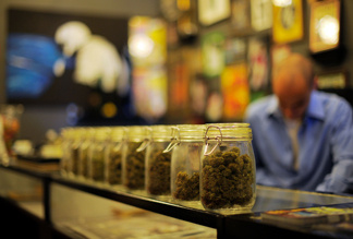File photo:  Sunset Junction, a medical marijuana dispensary, displays their product on May 11, 2010 in Los Angeles, California.