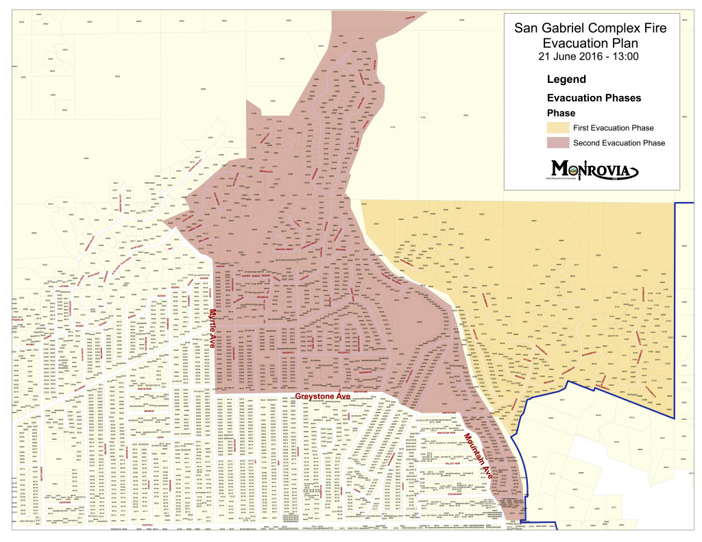 Monrovia Deputy City Manager Lauren Vasquez said should evacuations due to the San Gabriel Complex Fire be required, the city has a two-phase plan, as seen in this map.