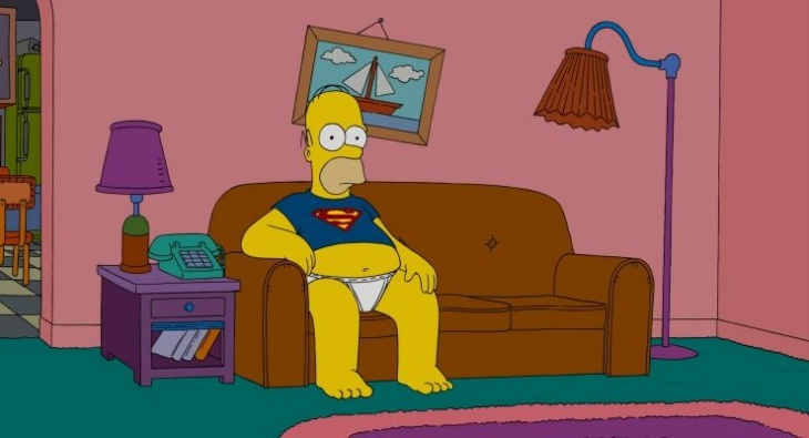 A 20th Century Fox marketing photo shows character Homer Simpson in a still from