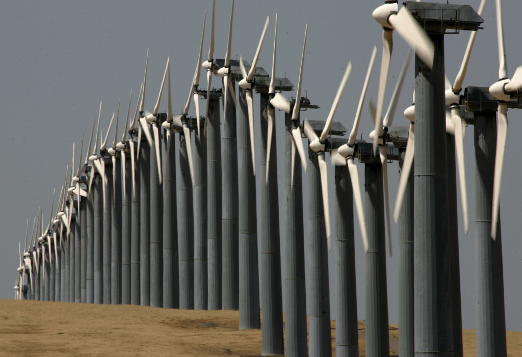 Rows of wind turbines at the Altamont Pass wind farm in Byron, California. Renewable energy is seen as one component of California's efforts to reduce greenhouse gas emissions to 1990 levels by 2020.
