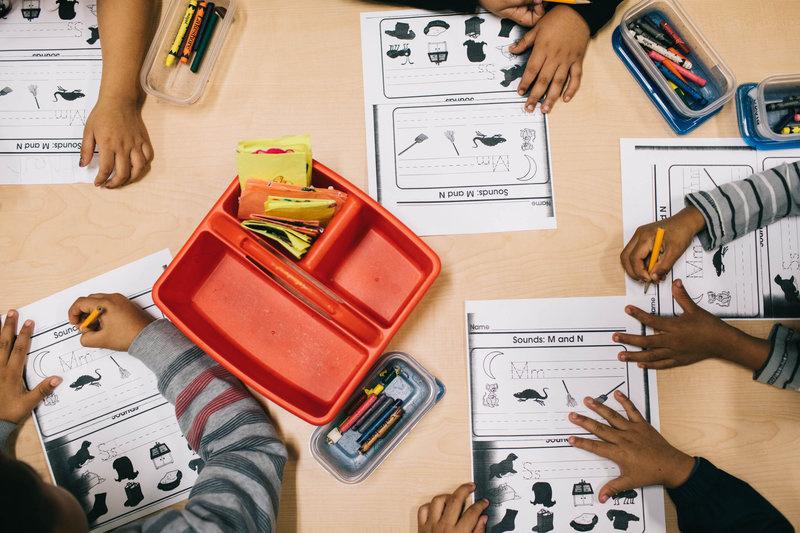 Students at Las Familias Del Pueblo practice sentence structure and language.