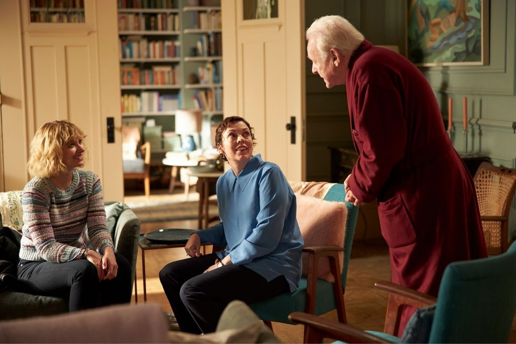 Anthony Hopkins, Olivia Colman and Imogen Poots in