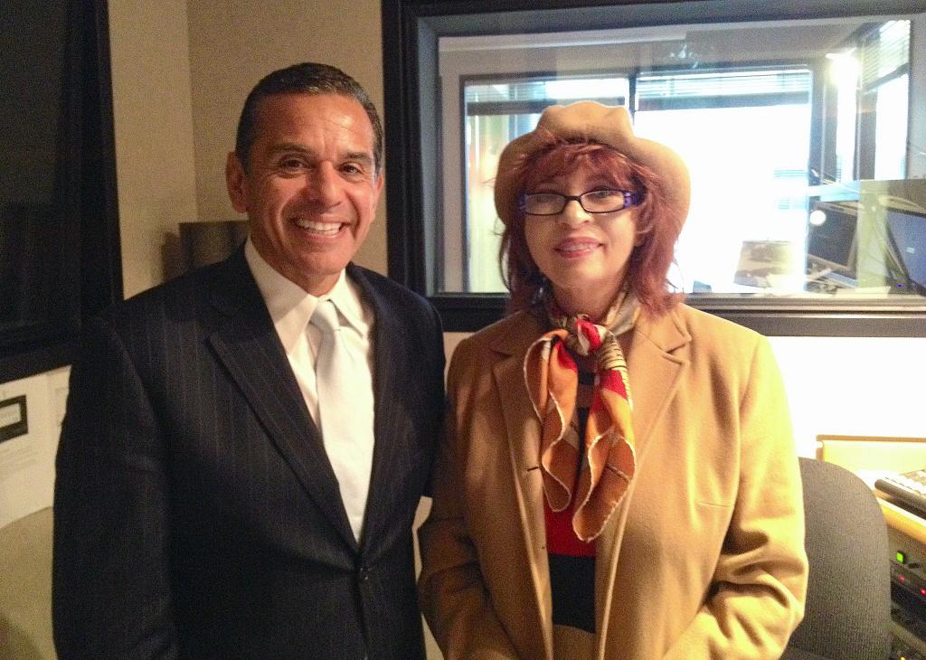 LA Mayor Antonio Villaraigosa and Patt Morrison.