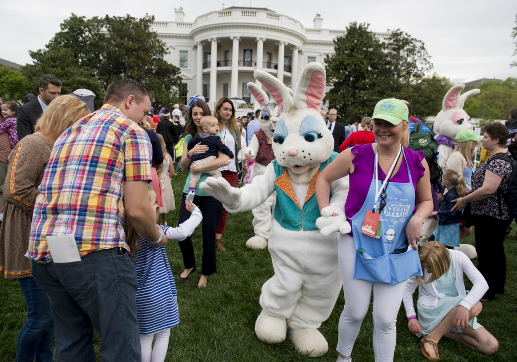 The Easter Bunny greets attendees during the 139th White House Easter Egg Roll on the South Lawn of the White House in Washington, DC, April 17, 2017.