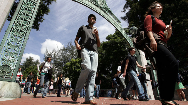 Students walk through Sather Gate on the UC Berkeley campus. A June 24 report from the California State Auditor's office finds that public universities in California, including UC Berkeley, need to do more to prevent and respond to sexual harassment and sexual violence.