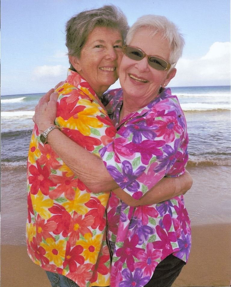 Beverly Miller (right) and her wife Judith in a beachside celebration.