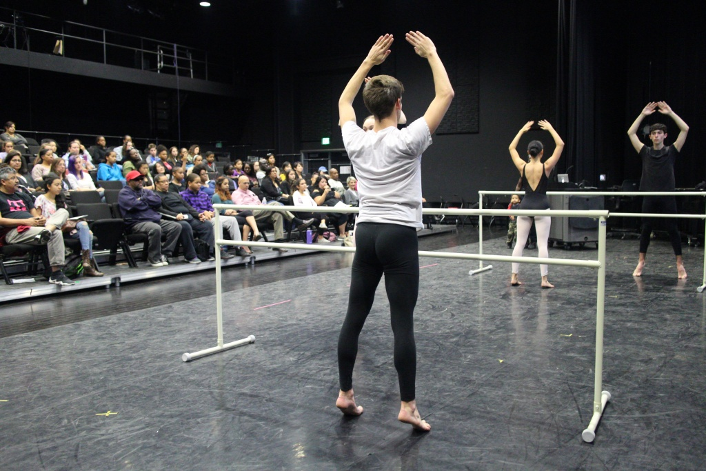 At a workshop ahead of auditions, current dance students at the L.A. County High School for the Arts demonstrate their technique.
