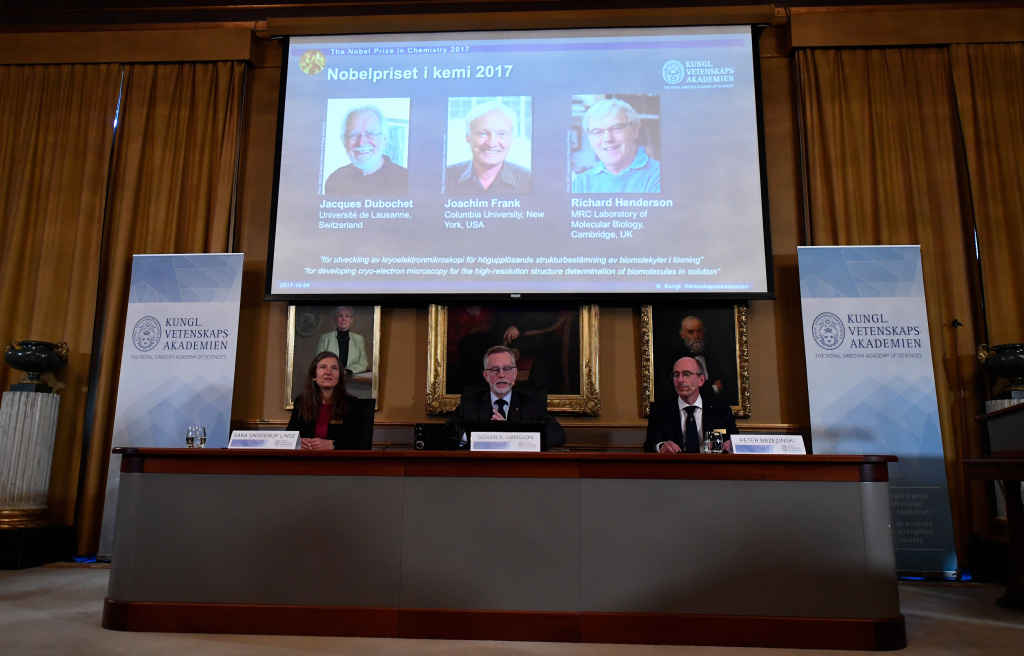 The 2017 Nobel Prize in Chemistry goes to Jacques Dubochet from Switzerland, Joachim Frank from the U.S. and Richard Henderson from Britain, during an announcement at the Royal Swedish Academy of Sciences in Stockholm, Sweden, Wednesday.