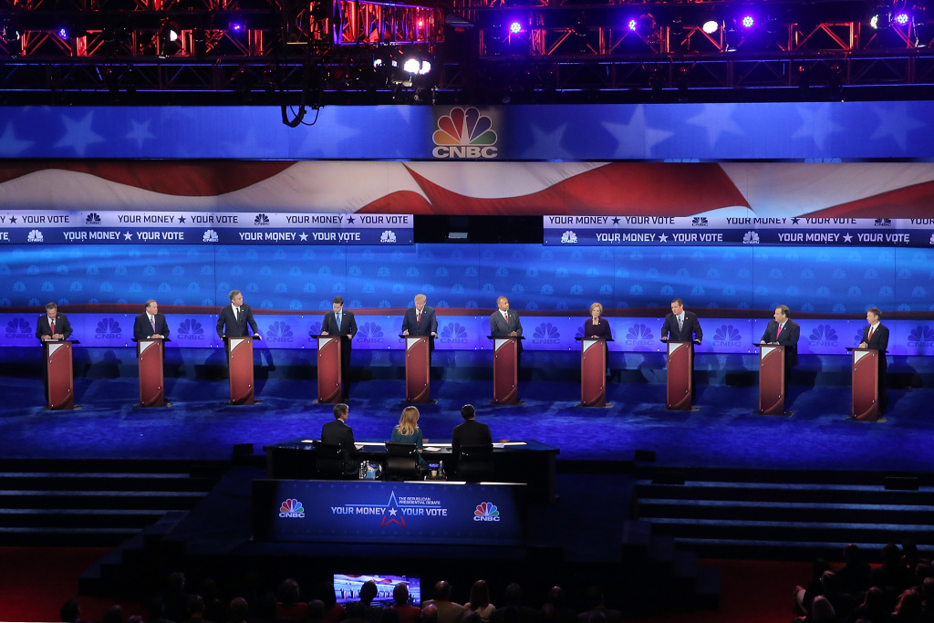 GOP Presidential candidates participate in the CNBC Republican Presidential Debate at University of Colorado's Coors Events Center October 28, 2015.