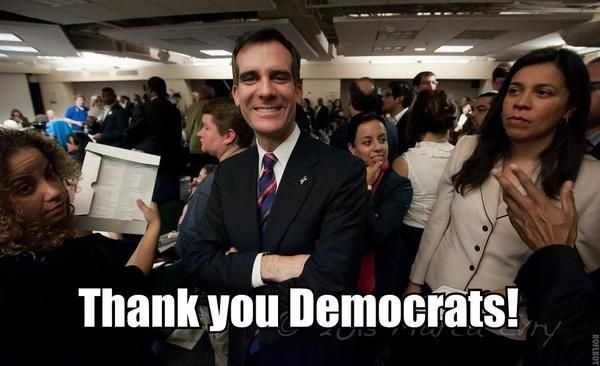 The Garcetti campaign tweeted this picture after the Los Angeles County Democratic Party declined to endorse him in the 2013 mayor's race.
