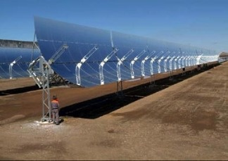 Solar panels that make up part of the Blythe Solar Power Project. File photo.