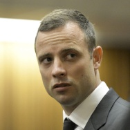 Accused South African Paralympic athlete Oscar Pistorius in court on Monday in Pretoria. He's accused of premeditated murder in the death of his girlfriend on Feb. 14, 2013.