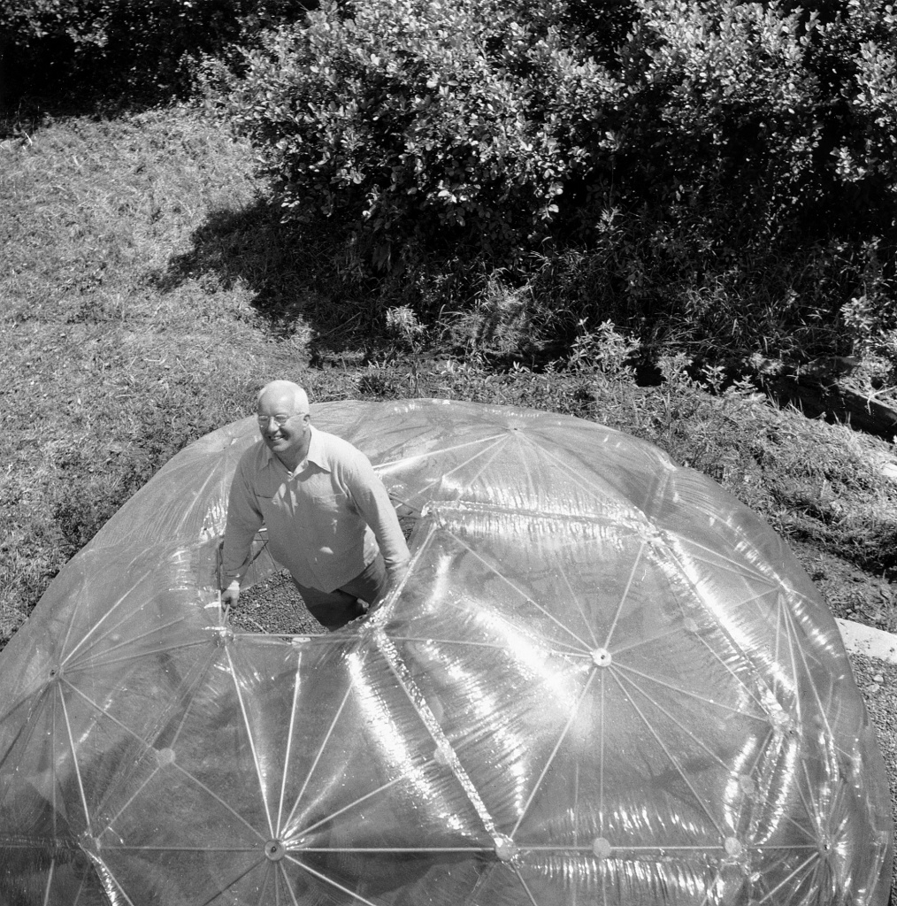 Buckminster Fuller inside His Geodesic Dome at Black Mountain College, 1949.