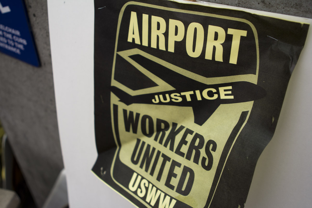 Union protesers turned out in force on May Day to object to working conditions at the airport.