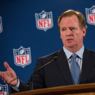 NFL Commissioner Roger Goodell holds a press conference on October 8, 2014 in New York City.