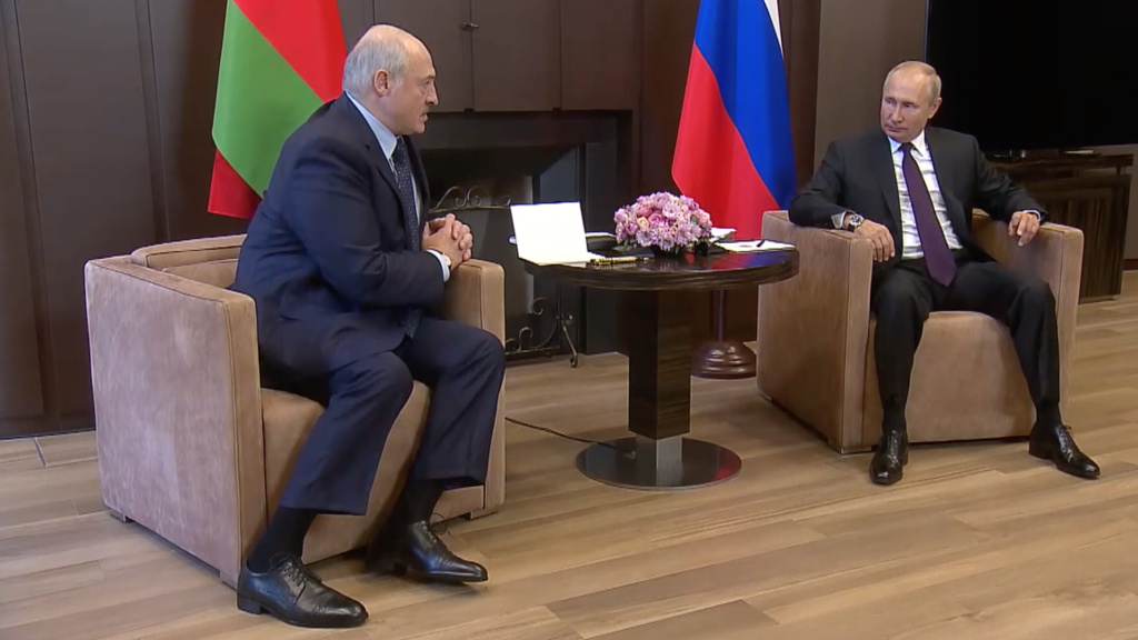 Russian President Vladimir Putin (right) met with Belarusian President Alexander Lukashenko in Sochi, Russia, on Monday.