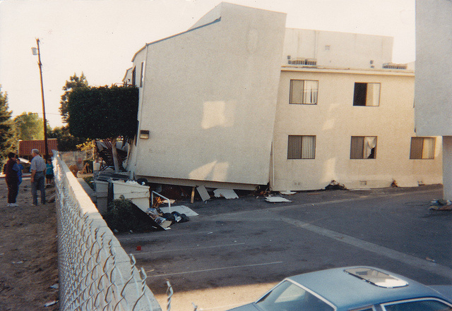 An apartment building in Reseda, CA in January of 1994 after the Northridge Earthquake. The city of Los Angeles is now looking at cataloguing soft-story buildings that could be vulnerable in an earthquake.