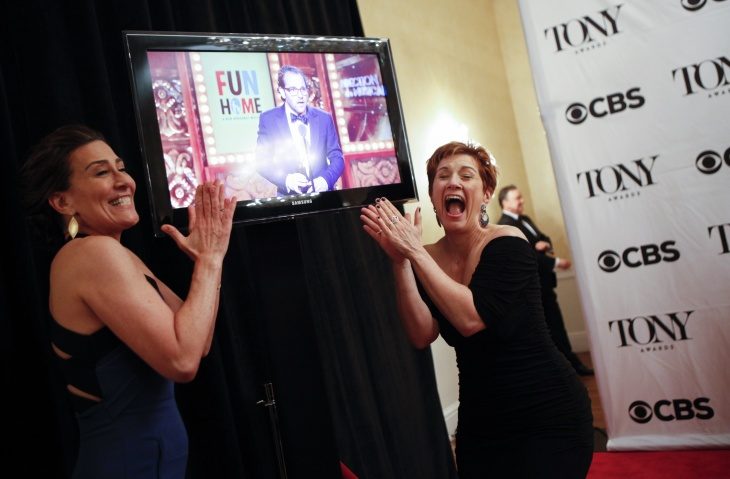 Jeanine Tesori (L) and Lisa Kron pose backstage during the American Theatre Wing's 69th Annual Tony Awards at the Radio City Music Hall in New York City on June 7, 2015.