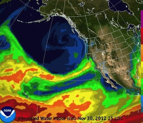 An atmospheric river (thin yellow band) feeds torrential rain into northern California on Nov. 30.
