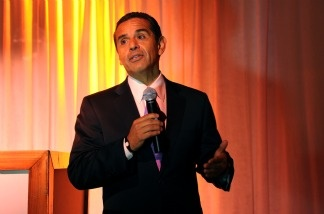 Mayor of Los Angeles Antonio Villaraigosa speaks at The Hollywood Reporter Big 10 Party at the Getty House on February 24, 2011 in Los Angeles, California.