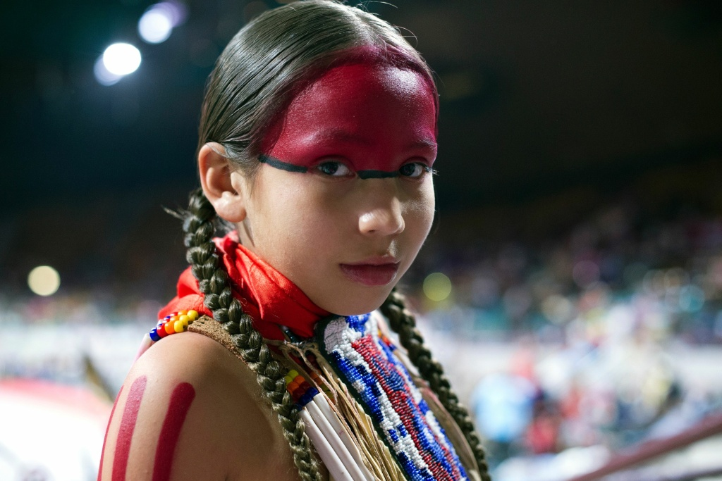 King Ramos, 9, of the Oglala Lakota Nation poses for a portrait prior to the Grand Entry during the Denver March Powwow on March 24, 2017 in Denver, Colorado.