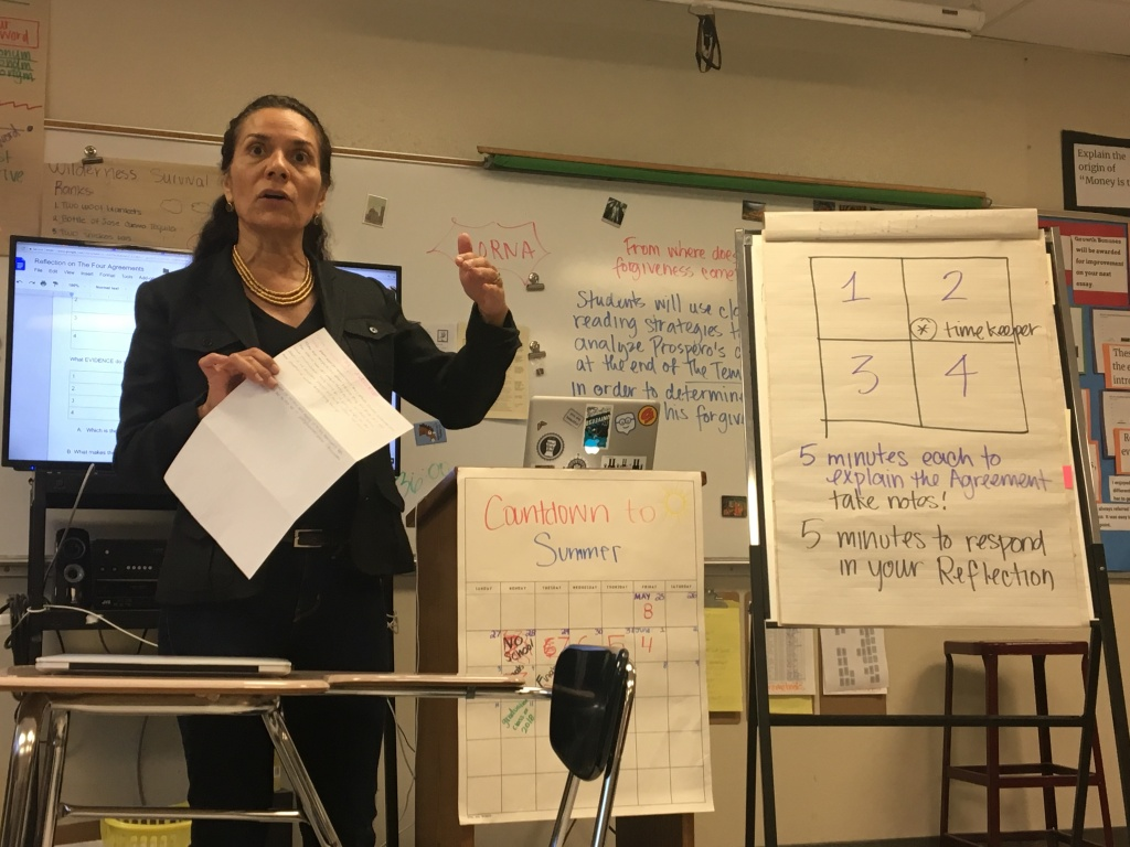 Lisa Alva, a teacher at Bravo Medical Magnet High School in the L.A. Unified School District, leads her last lessons of the school year before finals on Fri., June 1, 2017.