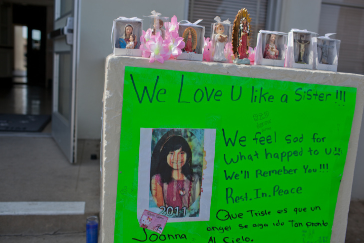 Part of a memorial to Joanna Ramos, a 10-year-old student who died several hours after a fight with a classmate.