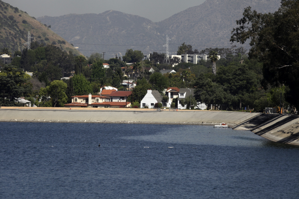 This April 9, 2010 photo shows the Department of Water's Silver Lake Reservoir in Los Angeles.