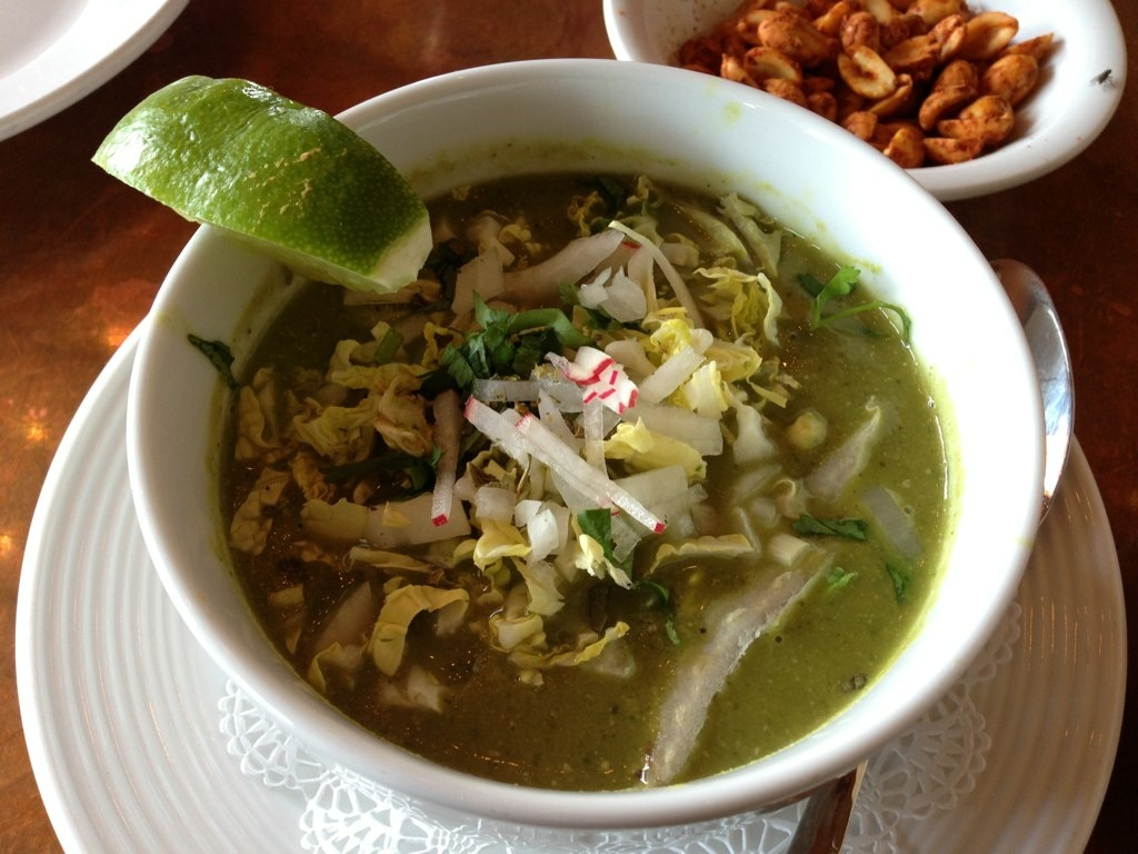 Pozole verde con callito de hacha (bay scallops) at Hugo's in Houston, Texas.