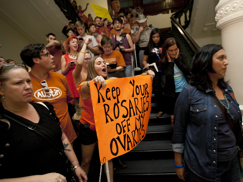 Abortion rights advocates  protesting in the State Capitol in Austin, Texas in 2013.