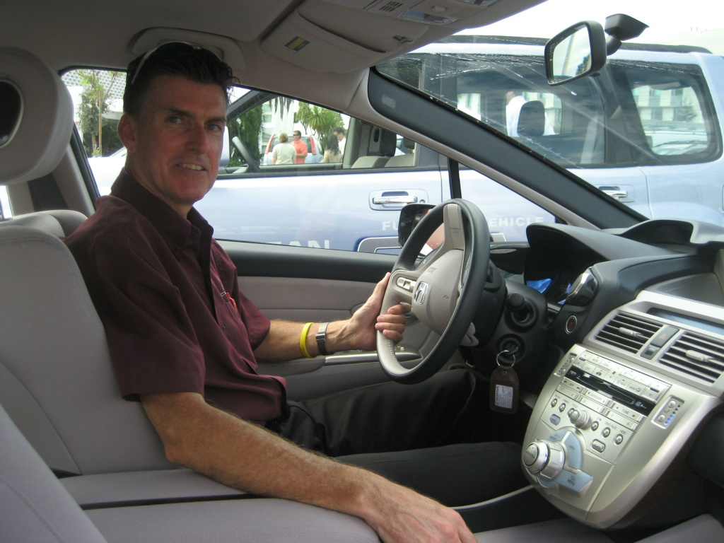 Steve Ellis, manager of Fuel Cell Vehicle Marketing for American Honda, powers up the Clarity.