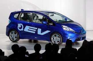 The Honda FIT electric vehicle concept is revealed at the two-day media preview event for the 2010 Los Angeles Auto Show on November 17, 2010 in Los Angeles, California.