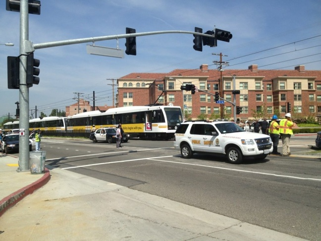 An empty Expo Line train was involved in an accident with a single car near USC on Thursday, April 19, 2012.