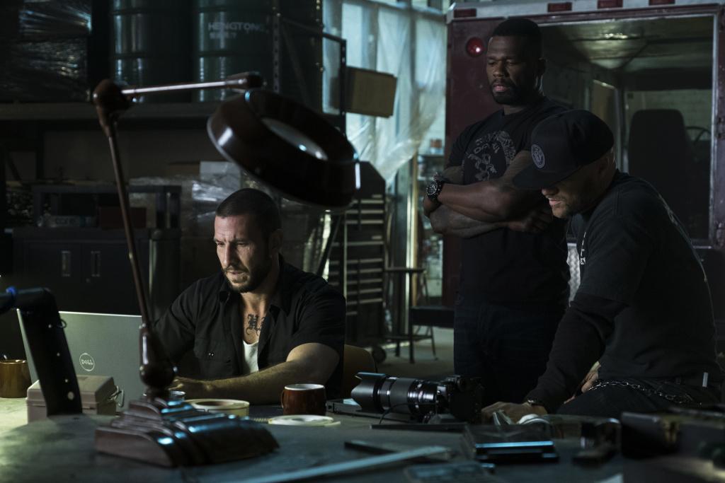 Pablo Schreiber, Curtis Jackson and Evan Jones star in Den of Thieves.