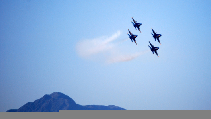 The Blue Angels fleet practices in the sky above El Centro, Calif. on Feb. 11, 2012.