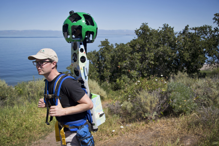 Kirk Klausmeyer, a climate scientist with The Nature Conservancy, wears Google's Trekker during a hike in the Santa Cruz Islands on Thursday, March 26, 2015.