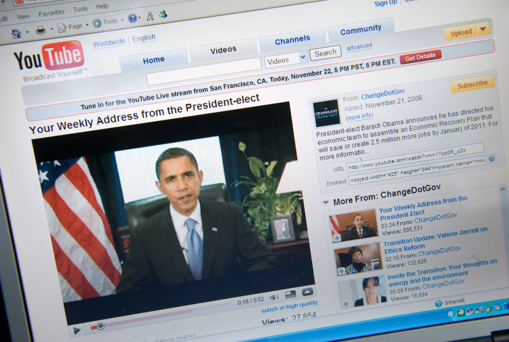 A YouTube video of US President-elect Barack Obama's weekly radio address is seen on a computer screen in Chicago on November 22, 2008.