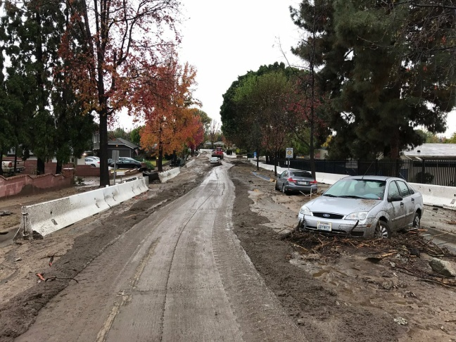 Mud and debris flow impacting a neighborhood in Duarte on Friday, Dec. 16, 2016.