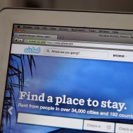 The Airbnb website is displayed on a laptop on April 21, 2014 in San Anselmo, California.