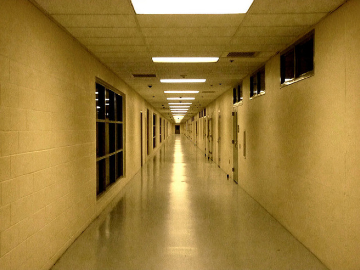 The corridor of a juvenile detention center.