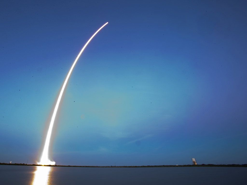 A Falcon 9 SpaceX rocket lifts off from Launch Complex 40 at the Cape Canaveral Air Force Station in Cape Canaveral, Fla., on Tuesday.
