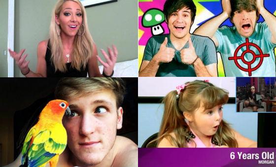 Screenshots from some of the most popular celebrities online (clockwise from top left): Jenna Marbles, Smosh, The Fine Bros and Logan Paul.