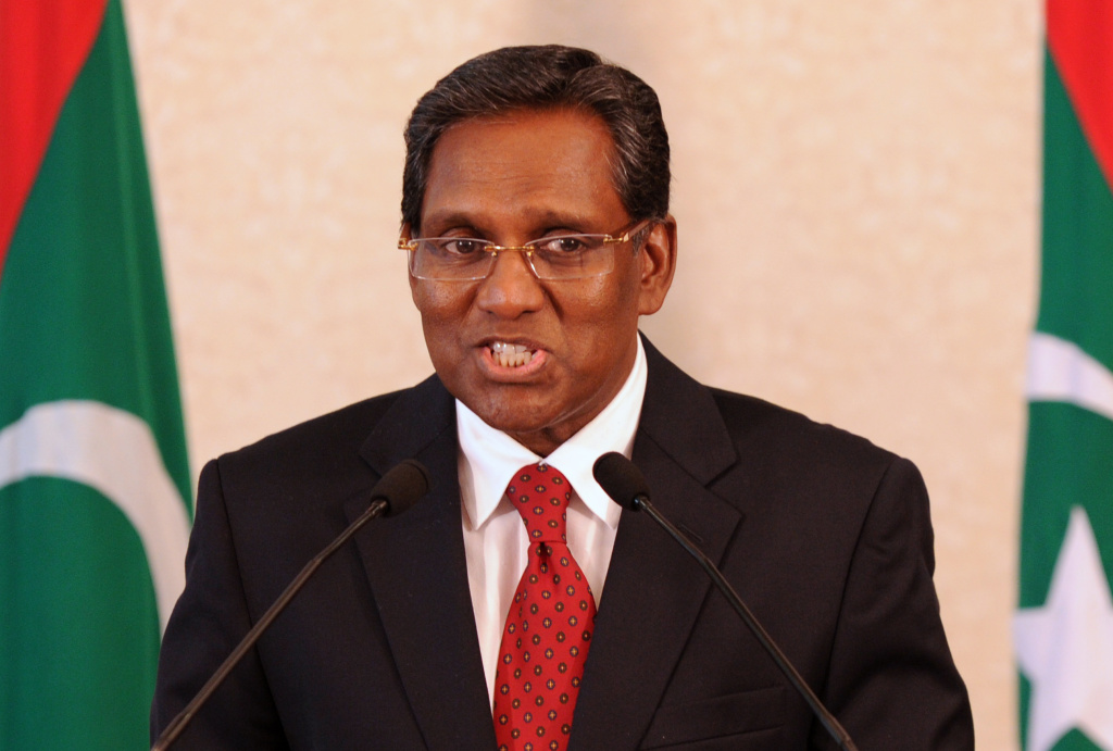 In a file picture taken on February 11, 2012, Maldives President Mohamed Waheed speaks to reporters at his office in Male.  Waheed on February 16, 2012 set his ousted predecessor's party a four-day ultimatum to join the government in a national unity coalition to end an eruption of political unrest.